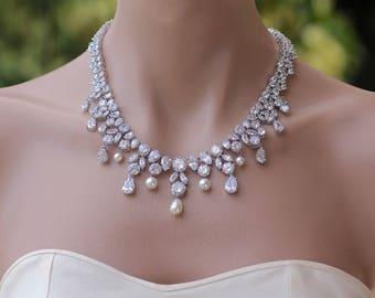 Crystal Necklace, Crystal Bridal Necklace, Crystal Wedding Necklace, JULIETTE
