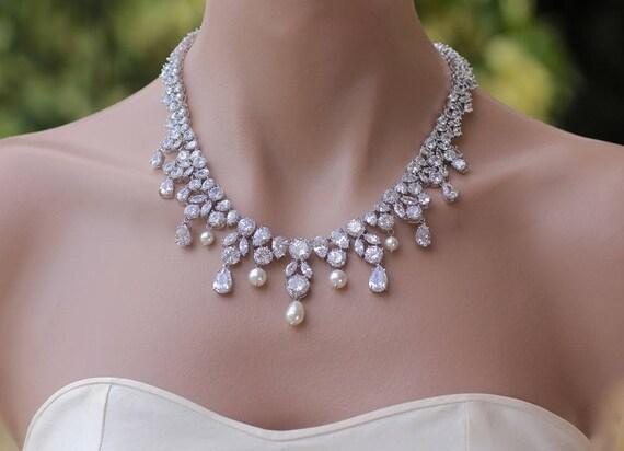 Crystal necklace crystal bridal necklace crystal wedding junglespirit Gallery
