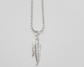 Sterling Silver Feather Pendant, Comes with 2 Feathers and Ring