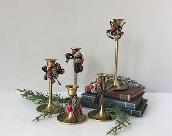 Graduated Brass Candle Holders, Set of Five 5 Christmas Candlesticks, Vintage Tulip Candleholders, Boho Candle Decor, Vintage Brass Decor
