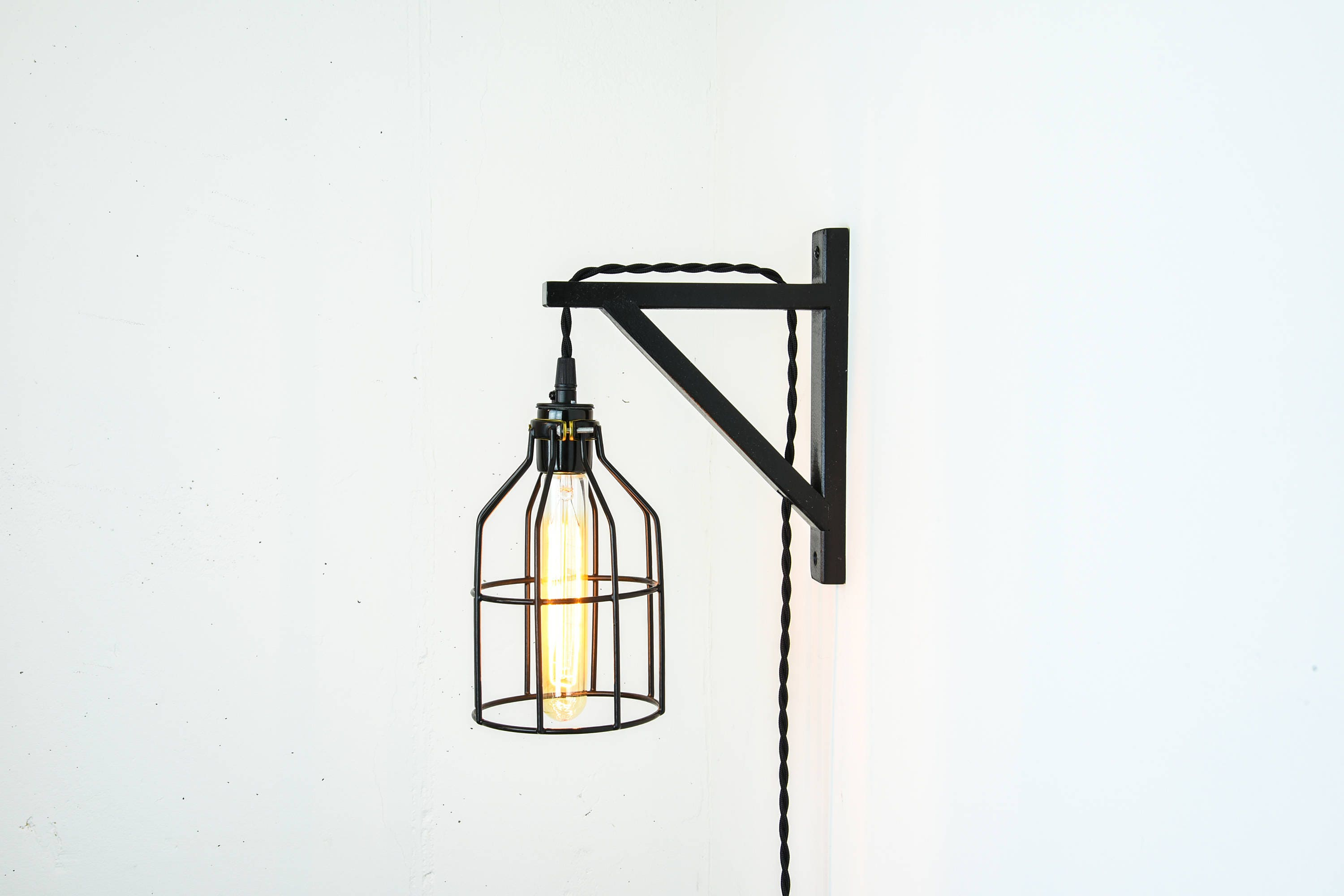 Plug In Wall Sconce   Bulb Guard Light   Light Bulb Cage Lamp   Black Wall  Sconce   Wall Lamp   Farmhouse Lighting   Antique Sconce   Unique