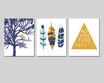 Aztec Gold & Mint Nursery Decor, Tribal Boy Nursery Art - Mint, Navy, Gold Nursery Set of 3 - Birds in a Tree, Feathers, Adventure Awaits