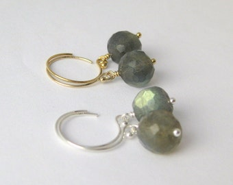 Faceted Labradorite Dangle Earrings