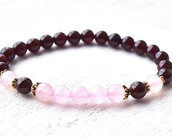 Garnet Bracelet Garnet Beaded Bracelet, January Birthstone Bracelet, Rose Quartz Healing Crystal Bracelet, Gemstone Jewelry