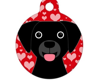 Pet ID Tag - Black Lab Valentines Day Love Pet Tag, Dog Tag