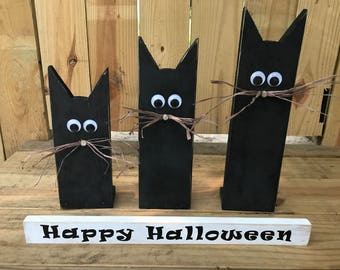 Rustic Halloween Black Cats Wood Decor Set of 3 with Sign Handmade from Reclaimed Wood