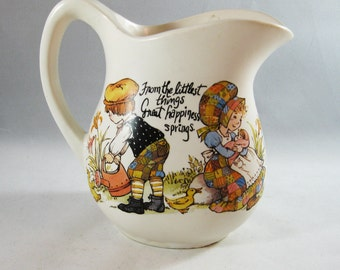 1970's Pottery Cream Pitcher, Holly Hobby Style Baby Gift