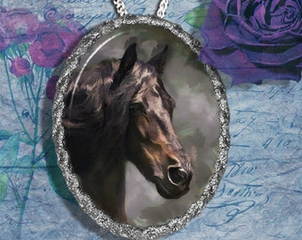 Black Spanish Horse Andalusian , Lusitano Jewelry Pendant - Brooch Handcrafted Ceramic