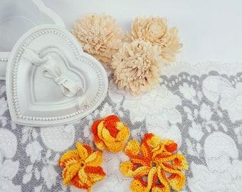 3 Orange Flower Patches, Sewing Flowers, Orange Crochet Flowers, Crochet Rose, Orange Flower Appliques, Handmade Flower Embellishments