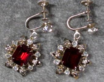 Antique Red and Clear Rhinestone Dangle Snowflake Earrings, Fleur De Lis Filigree Flower or Snowflake