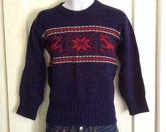 Vintage 1940s Reindeer Snowflake Wool Sweater size Small Animal Kandahar