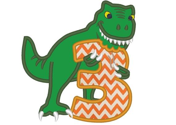 T Rex Birthday Embroidery Design
