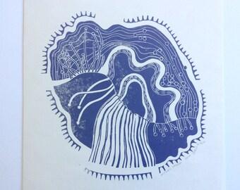 linocut - DRIFTLESS DREAM // 12x12 art print // printmaking // block print // purple // nature art // original art // 10x10 // hand-printed