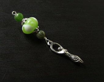 Green Jade and Nephrite Spring Seedling Birth Goddess Blessingway bead - Mother Blessing, baby shower gift, pregnancy pendant, doula gift
