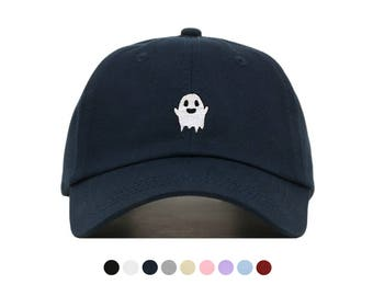 GHOST Baseball Hat, Embroidered Dad Cap, Spooky Kawaii Boo Grunge Ghost Customizable Hat, Unstructured Low-Profile, Adjustable Strap Back