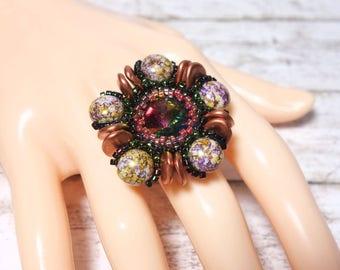 Brown ring finger ring beads ring beaded ring Rivoli candy beads Miyuki Delicas TOHO beads