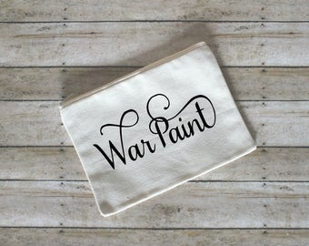 Fancy War Paint Makeup Cosmetic Bag, Cotton Canvas, Small Cosmetic Bag, Gift for Her, Face Stuff Bag, Toiletry Bag, Makeup Case, Gift