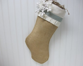 Snowflake Christmas Stocking with blue accents