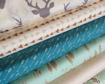 Fabric by the Yard, Hello Bear fabric bundle, Woodland Nursery fabric, Rustic Home Decor, Deer fabric, Bundle of 6- You Choose the Cut