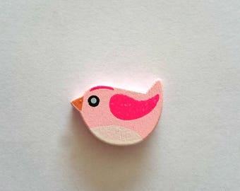 Bird pink wooden beads