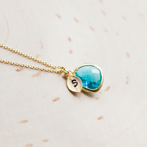 December birthstone necklace initial necklace birthstone like this item aloadofball Image collections