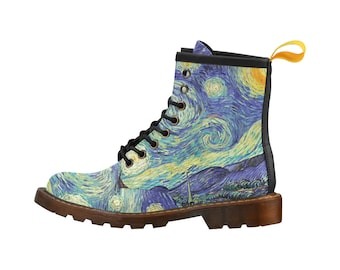 Van Gogh Starry Night | Lace Up Boots | Mens & Womens | Unique Artist Bold Print Design | PU Upper | Soft Lining | Durable Sole Light Weight