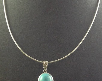 Turquoise, pendant, sterling, Chain, American Indian, Necklace, jewelry, - Turquoise Pendent with Chain