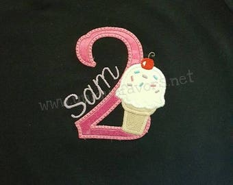 Custom Ice Cream Birthday or Initial Applique T-shirt or Onesie! Celebrate with ice cream! All letters and numbers available with ice cream!