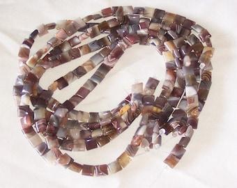 Botswana Agate 10mm flat square beads