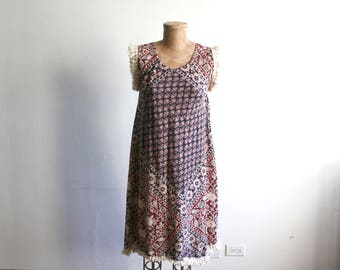 Indian Cotton Block Print Fringe Dress