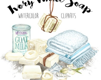 Ivory White Soap Cliparts - digital printable watercolor clipart - ivory color soap, rose bud, towels, canned milk, sea snails