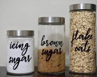 Custom Set of Pantry Labels, Kitchen Labels, Canister Labels, Food Labels Kitchen Decals, Canister Decals, Pantry Stickers, Jar Labels