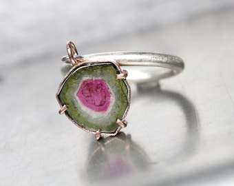 Raw Polished Watermelon Tourmaline Slice Dangle Ring 14K Rose Gold Silver Unique Pink Green Triangular Bi-Color Gemstone Gift - Flip de Luxe