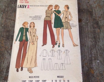 Vintage Butterick Sewing Pattern 6726 Misses' Size 16 Bust 38 Dress Top Cardigan Skirt Pants