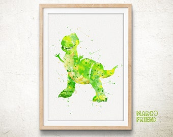 Disney Toy Story Rex Watercolor Art Poster Print - Home Decor - Watercolor Painting - Wall decor - Nursery Art - Toy Story Accessories - 278