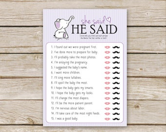 Purple Elephant Baby Shower He Said, She Said Game   Printable Download    He Said She Said Baby Shower   Mommy Or Daddy Quiz   Mom Or Dad