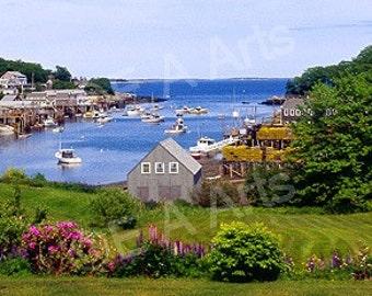 New Harbor Maine Panoramic Photography  Paul Vose Maine Photographer Maine Summer Maine Color Art Print
