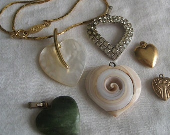 Lot of 6 VINTAGE Charm Pendant Realistic Heart JEWELRY Pieces