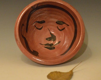 Große rote Buddha Servier Schüssel in Raku-Keramik