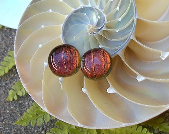 Rootbeer Color Dichroic Glass Stud Earrings