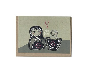 Russian Doll New Baby Card