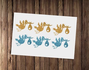 15 glitter stork stickers, baby shower envelope seals, gender reveal party decor, stork decals, envelope seals,  birthday decoration