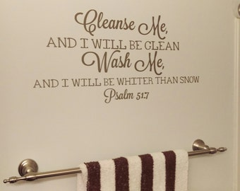 Bathroom Decor, Cleanse Me Wash Me, Vinyl Wall Decal, Bathroom Sticker, Home Decor