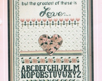 CROSS STITCH PATTERN - Love Is Patient Sampler Counted Cross Stitch - Alphabet Sampler Cross Stitch