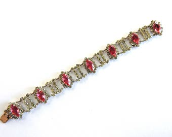 1960s Pink Navette Rhinestone Bracelet