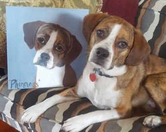 Custom Pet Portrait, Acrylic Painting on cradled wood panel 12X12 or 11X14