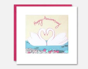 Two Swans Anniversary Shakies Card by James Ellis