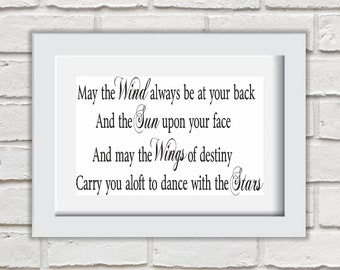 May The Wind Always Be At Your Back Framed Quote Print Mounted Word Art Wall Art Decor Typography Inspirational Quote Home Gift