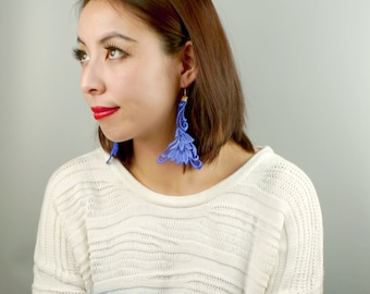 large  lace earrings - hand painted blue red black  - boho chic vintage statement earrings