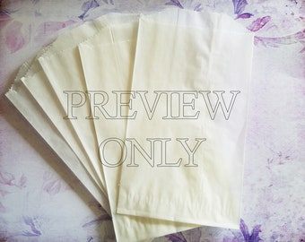 """50 White Glassine Bags-Translucent Bags-Paper Bags-3.75"""" x 6 5/8"""""""